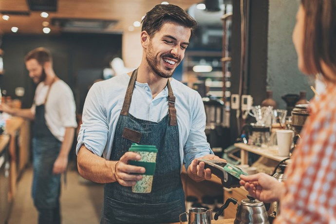 Man buying coffee